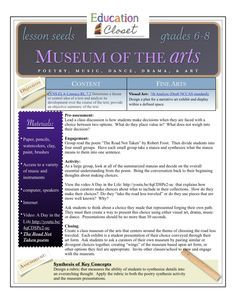 "Museum of the Arts Integrated Lesson Plan - Education Closet. After reading ""The Road Not Taken,"" students watch a video about museum curation and discuss whether curators choose common works or take the ""road less traveled"" Students then curate their own wing of a museum."
