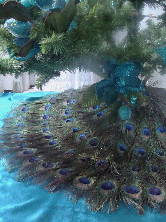 Dual Use 48 Peacock Feather Christmas Tree Skirt and by Ivyndell