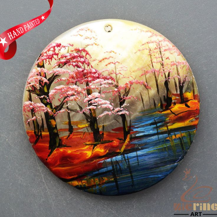 HAND PAINTED AUTUMAN SCENERY NATURAL MOP MOTHER OF PEARL SHELL PENDANT ZL3005918 #ZL #PENDANT
