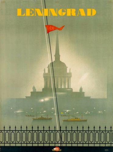 Leningrad-St-Petersburg-USSR-Vintage-Russian-Travel-Advertisement-Art-Poster