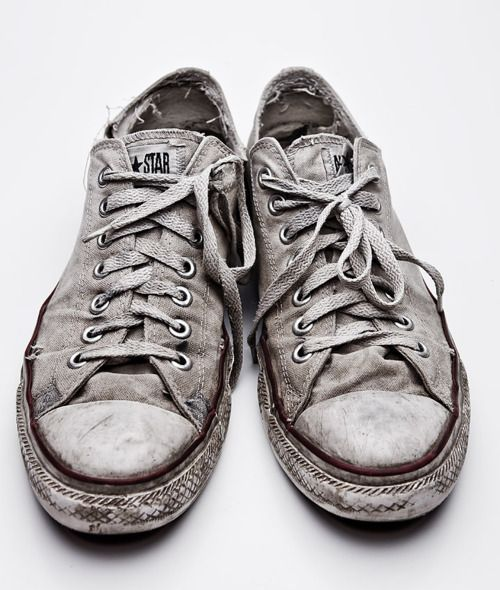 I've had the same pair of faded white trainers for the past five years. It's not as if we can afford to buy me a new pair, even at back-to-school sales.