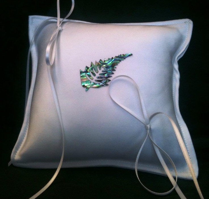 White Ring Pillow, with paua shell laminate Silver Fern   Please visit my site http://satinfinish.weebly.com/ring-pillows.html to purchase