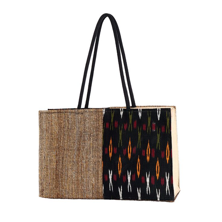 Banana fibre Tote Bag with Ikkat fabric