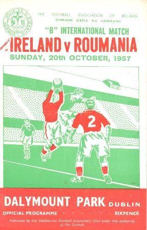 Home game: Ireland v Romania, 20th October 1957