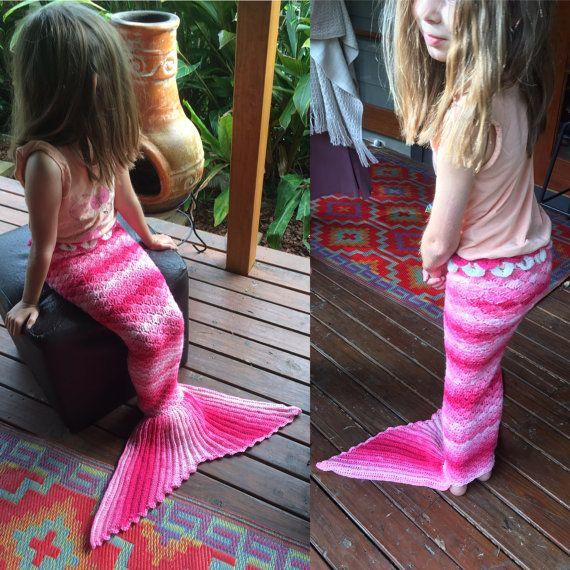 Crochet mermaid tail  Pink Fairyfloss yarn  rainbow by LaMalaTae