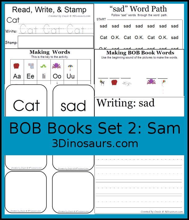 Bob Books Printables Set 1 Book 2 Sam 11 Pages Of Printables Working On Learning Words From Bob Books Set 1 Book Bob Books Reading Printables Reading Words