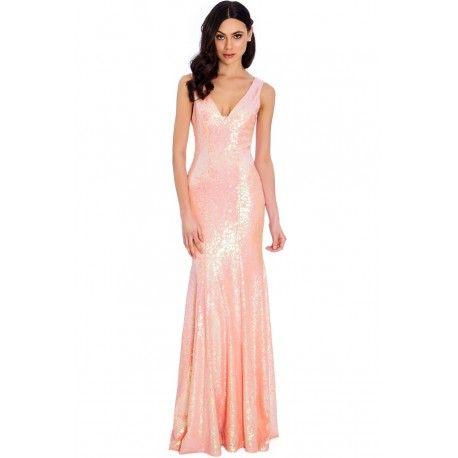 Różowa długa cekinowa #sukienka o dopasowanym fasonie #wesele #moda #zakupy