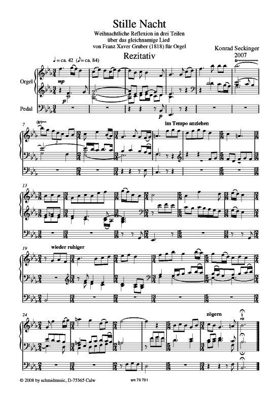 Stille Nacht (Orgel Solo) Konrad Seckinger (Reflexion in drei Teilen) >>> KLICK auf die Noten um Reinzuhören <<<