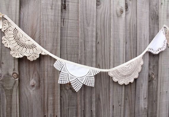 Crochet doily bunting  2.5 metres by adayofpaleskies on Etsy