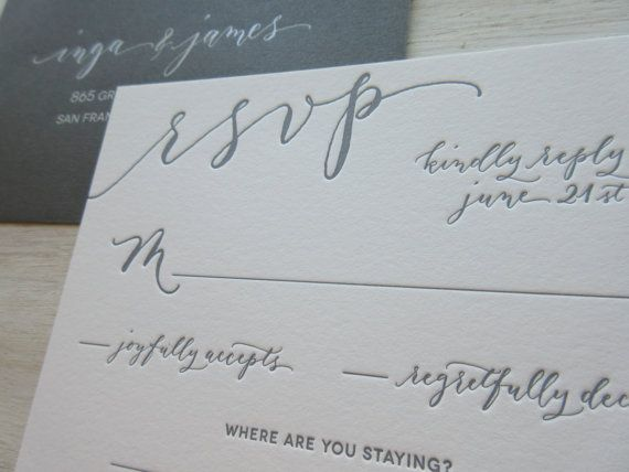 Modern Chic Calligraphy Letterpress Wedding by AngeliqueInk: Calligraphy Design Price $50.00 Price for Reply Card Return Address on envelops $25.00: Printing is separate. The Return Address stamp is $44.80 and more affordable. Printing is separate.