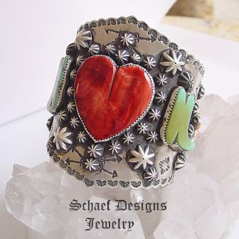 Schaef Designs Large Spiny heart & stars and turquoise boots, sterling silver cuff bracelet   Schaef Designs Southwestern Equine Equestrian Jewelry   New Mexico
