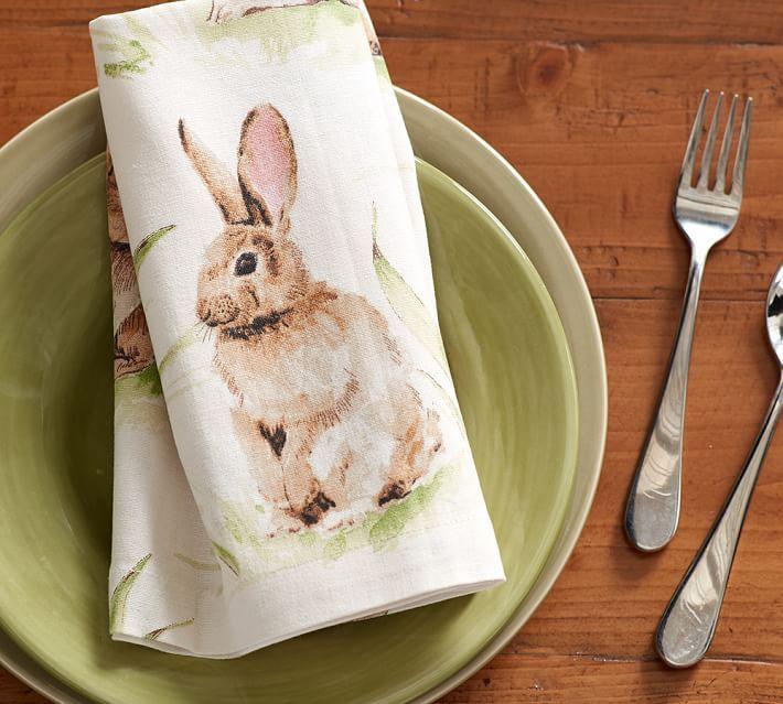Pasture Bunny Napkin, Set of 4