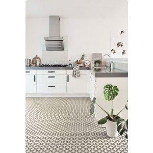 Kitchen with Victorian Ceramic Tile Effect Cushion Vinyl Flooring