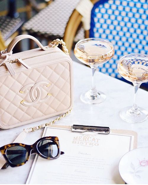 chanel bag + bubbly