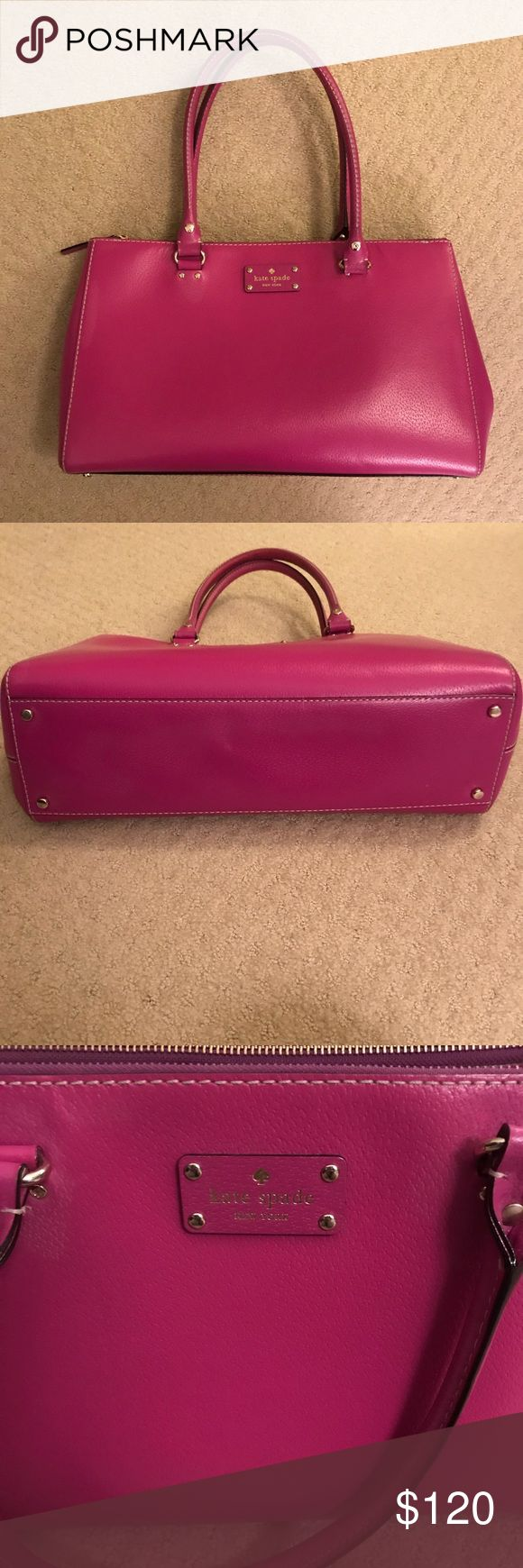 Kate Spade Pink Large Purse Perfect! Perfect condition Kate Spade purse. This hot pink bag is large and sturdy enough for everything. Inside zip pocket and two inside pockets perfect for a cell phone. Two additional outside zip compartments keep things secure. No major scratches flaws or problems. Measures approximately 15 inches across, 9 1/2 height, 4 inches wide. kate spade Bags Shoulder Bags