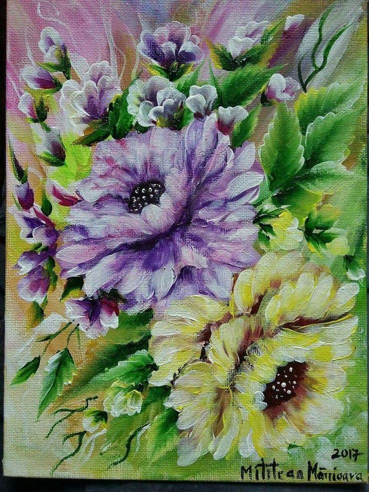 Trandafiri(30€) Tablou pictat pe panza Dimensiuni 25/18cm Disponibil