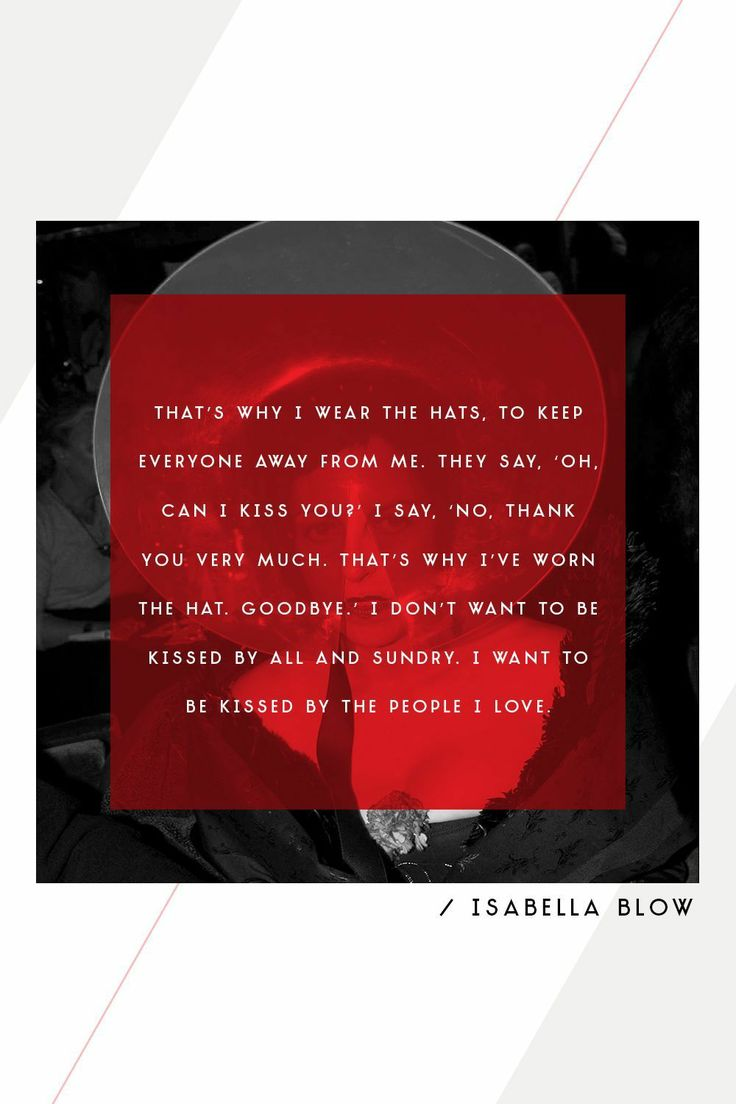 Isabella Blow on why she wore hats.