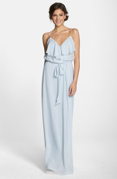 Amsale blue sash dress
