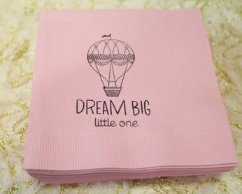 Hot Air Ballon Party; Napkins; Birthday Party; Vintage Hot Air Balloon Party Ideas; Pink; Dream Big