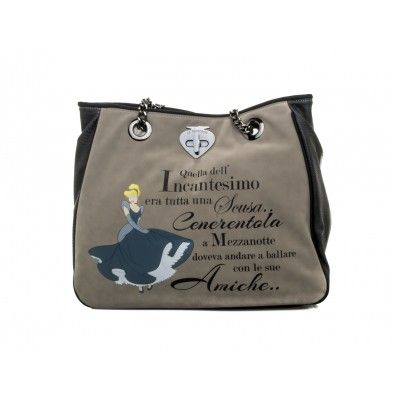 "LE #PANDORINE - Borsa DISNEY  ""Cinderella..."" in ecopelle - Grigio  - Elsa-boutique.it <3"