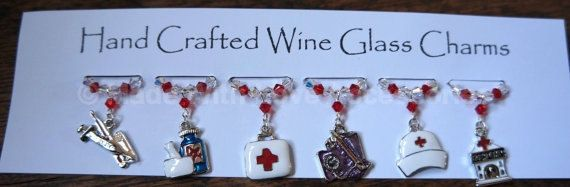 Wine Charms Wine Glass Charms  Medical by Makewithlovecrafts