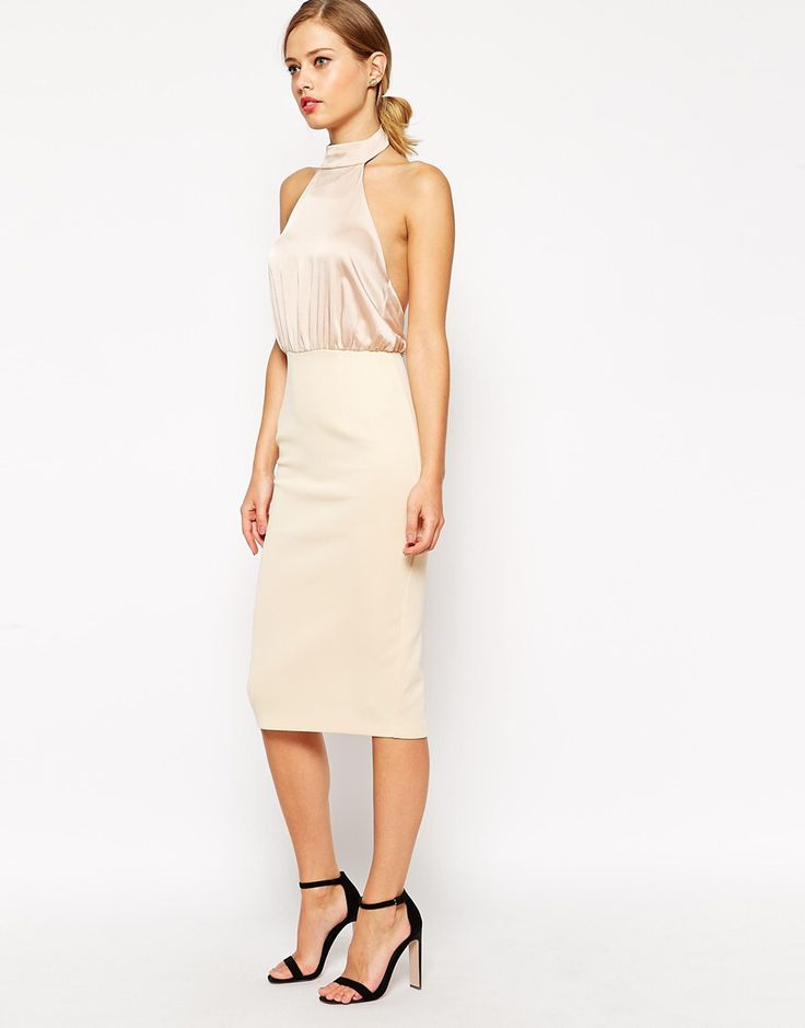 Pencil dress by ASOS Collection Woven fabric Halterneck design Silky-feel  bodice Zip back skirt Split to reverse Slim fit - cut closely to the body  Machine ...