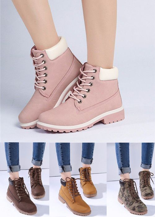 $20.92  Candy Color Lace Up Ankle Casual British Style Martin Boots