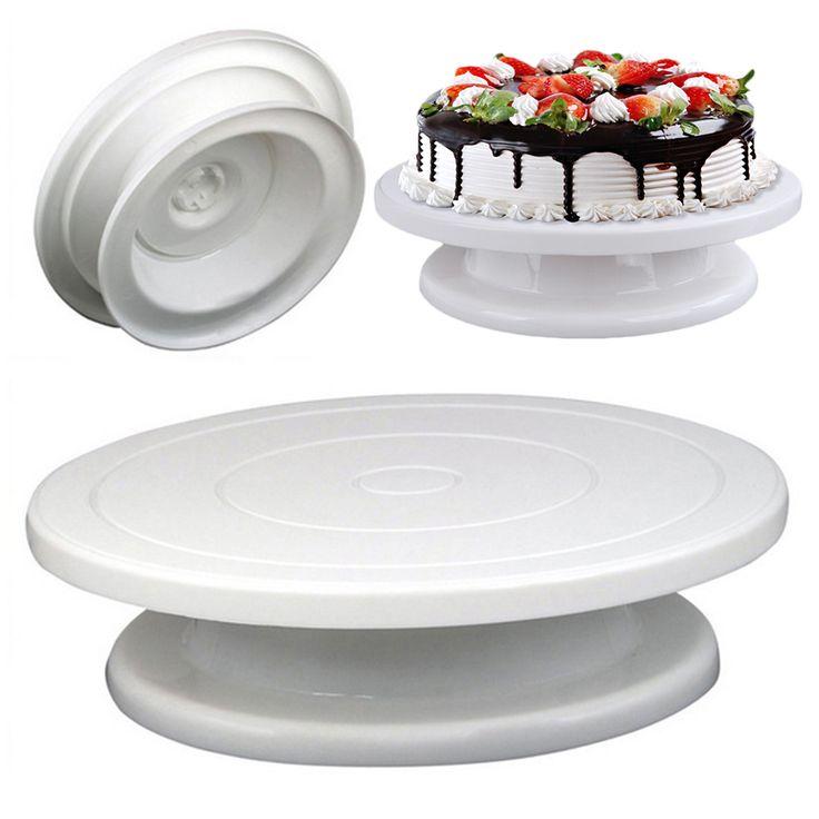 27cm Plastic Cake Turntable Rotating Cake Decorating Turntable Anti-skid Round Cake Stand Cake Rotary Table