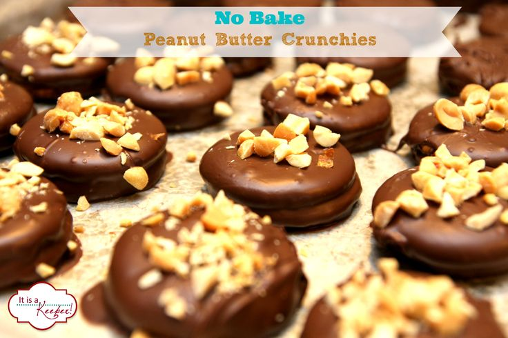 These No Bake Peanut Butter Crunchies taste just like Girl Scout Tag Alongs and are unbelievably easy to make! Get the recipe at www.itisakeeper.com.