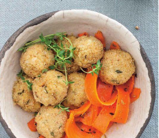 Polpette di ceci e feta al grano saraceno con carote arrosto