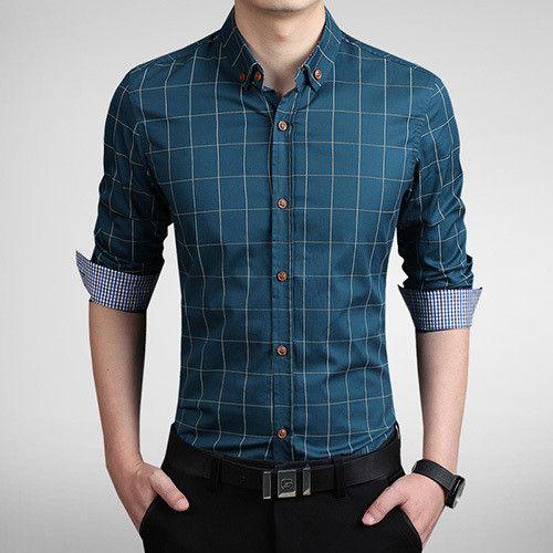 2015 Fashion Brand Men Slim Fit Shirt