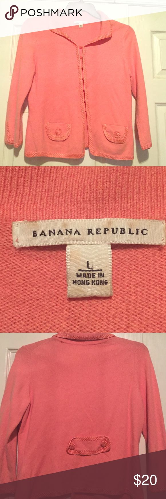 Banana Republic Coral cardigan Banana Republic coral cardigan with hook and eye closures.  Small separation in the back of collar that can be easily repaired. Banana Republic Sweaters Cardigans