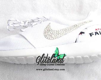 Swarovski Nike White Roshe Run w/ Atlanta Falcons Print Heel Blinged with SWAROVSKI® Crystals