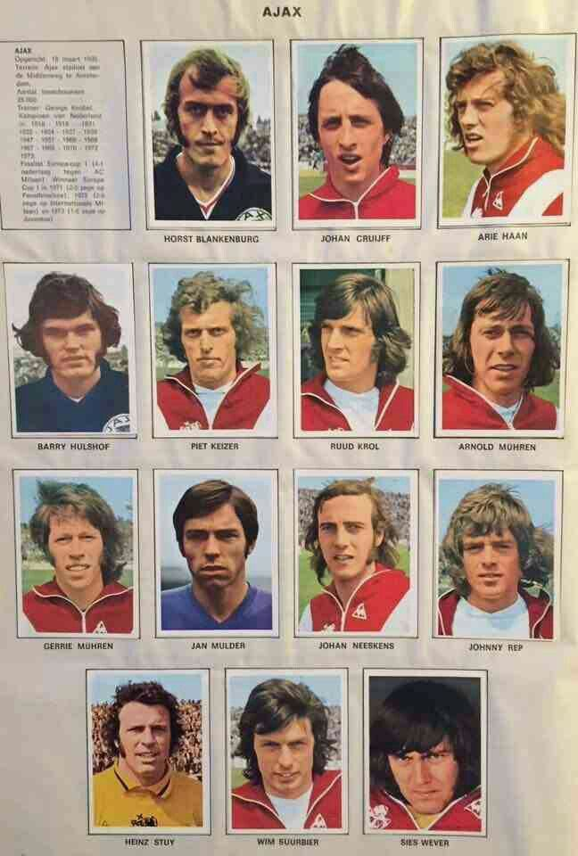 Ajax Amsterdam team stickers for 1973.