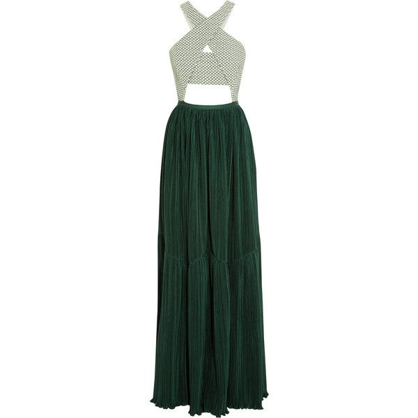 Adeam Cutout stretch-cotton jacquard and plissé-crepe gown (€1.035) ❤ liked on Polyvore featuring dresses, gowns, long dress, forest green, petite gowns, petite dresses, loose dresses, forest green dress and green fitted dress