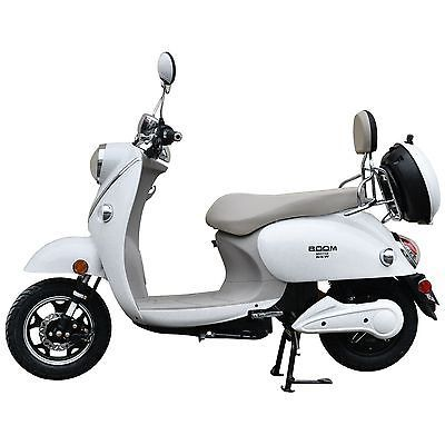 Boom-800W-48V-Electric-Moped-Scooter-573N-Brushless-Motor-White