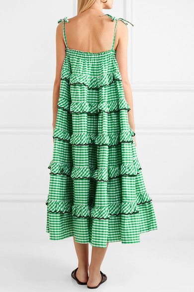 3e571c10f7486 Innika Choo - Tiered Embroidered Gingham Cotton Midi Dress - Green ...
