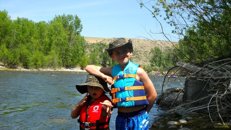 Bridger and Raider on their first rafting trip  on the stillwater