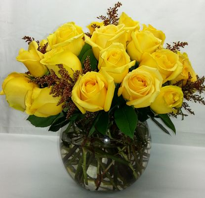 24 Bright Yellow Roses