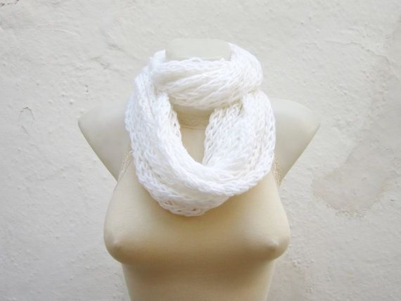 infinity scarf Finger Knitting Scarf White   by scarfnurlu on Etsy