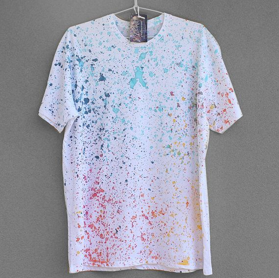 COLOUR SPLASH. 100 cotton T shirt. Hand painted. Unique by Smukie, $35.00
