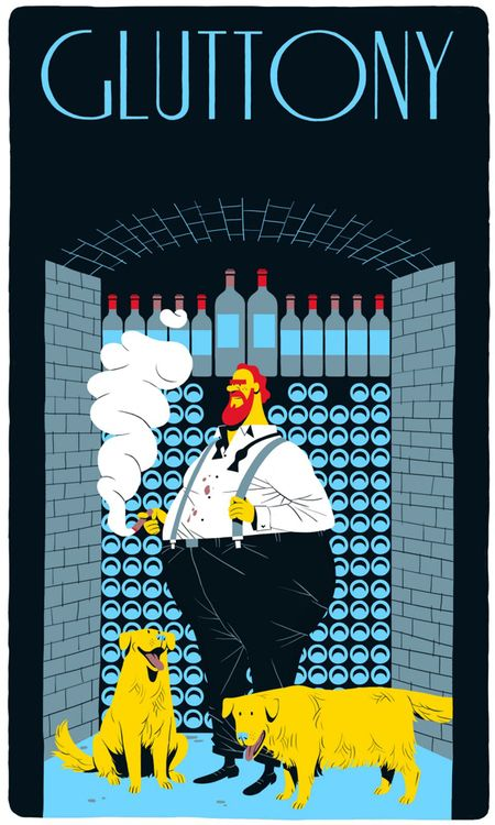 GLUTTONY - seven deadly sins illustrations by vincent mahe