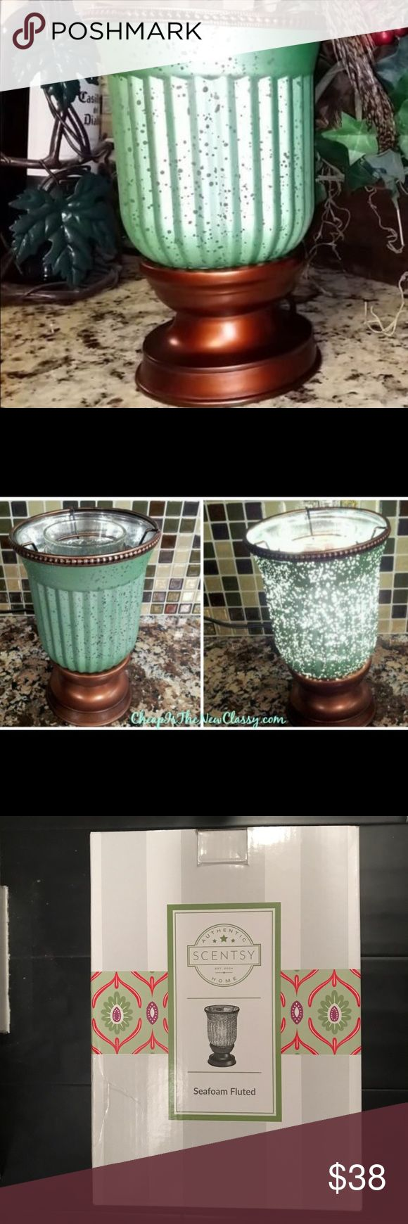 Scentsy seafoam fluted candle wax warmer This is a magical warmer grounded and topped in bronze, with a fantastical deep sea explosion of bubbles capturing your attention. scentsy Accessories