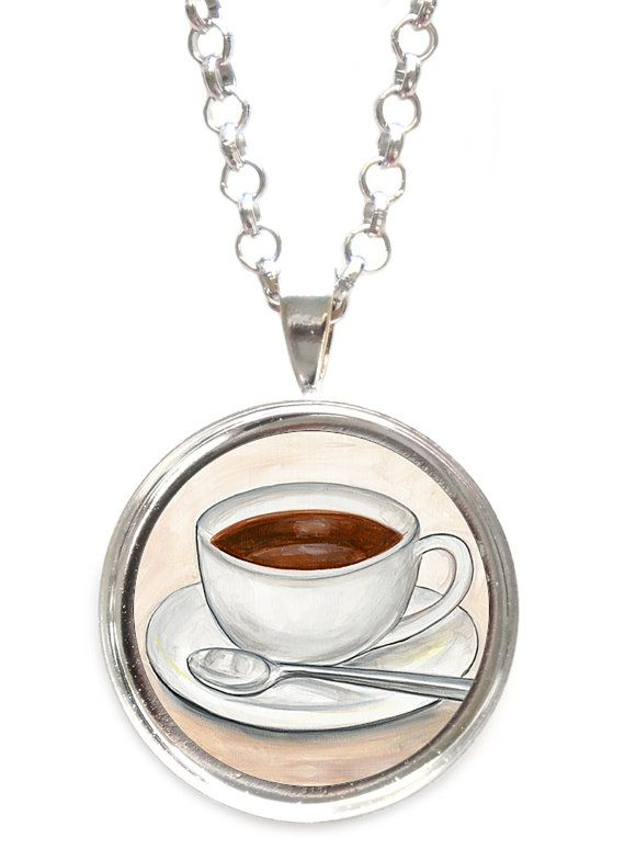 Cup of Coffee Pendant Necklace by ScentedSweets on Etsy
