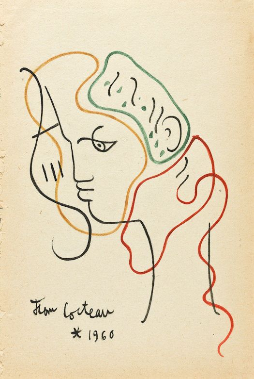 JEAN COCTEAU - original vintage pen & ink drawing - Important 20th Century French artist (Picasso, Matisse, Dali interest)