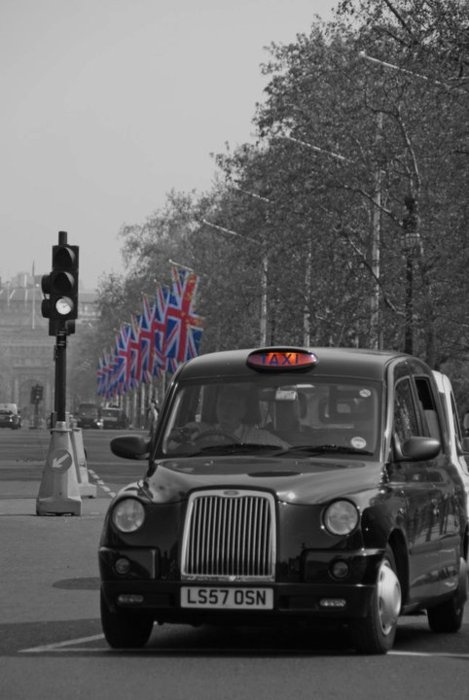 London's Black Cabs.  Scott gave Melissa a lift back to work in one of these when they first met.