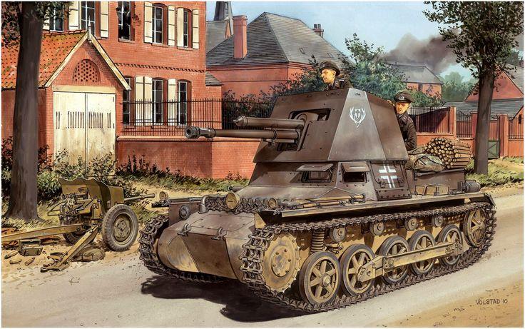 Panzerjäger I 4,7cm PaK(t) Early Production. Campaña de Francia, 1940. Ron Volstad. Los Pz I, carros ligeros de entrenamiento, se usaron como carros de combate al no disponerse de suficientes carros más pesados. Sólo con ametralladoras, y con una delgada coraza, no resultó un carro útil y muchos quedaron fuera de uso después de 1940, así que se aprovechó para transformarlos en el primer cañón autopropulsado alemán. Más en www.elgrancapitan.org/foro/