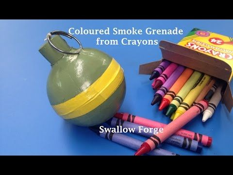 How to make Coloured smoke from Wax Crayons. Smoke bomb/ grenade for paintball, airsoft.. etc - YouTube