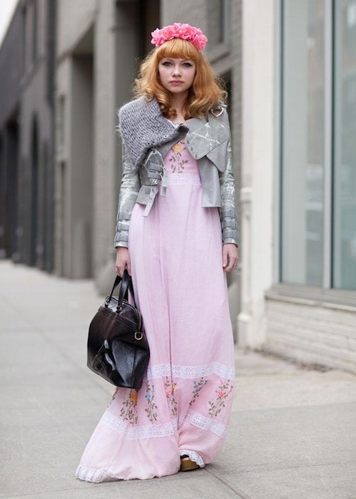 Tavi Gevinson wearing Rodarte jacket, DIY flower crown ...