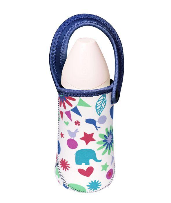 Etui na butelkę - niebieskie w kształty
